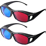 2 Pieces 3D Movie Game Glasses 3D Red Blue Glasses 3D Style Glasses for 3D...