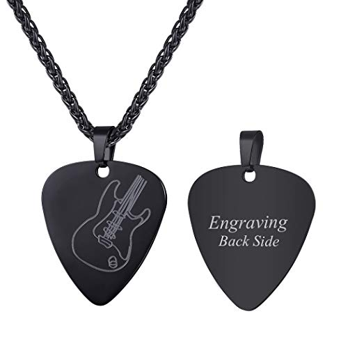 Men Women Guitar Pick Necklace with Adjustable Chain Ion-plating Black Stainless Steel Music Jewelry Personalized Pendant Gift, Custom Message Engrave Back Side