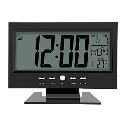 LCD Display Digital Sound Sensor Tisch Schreibtisch Wecker mit Smart Nachtlicht und Snooze Zeit/Datum/Temperaturanzeige(Schwarz)