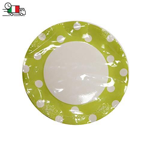 Krea - Juego de 10 platos hondos verdes con lunares blancos de papel, diámetro 27 cm