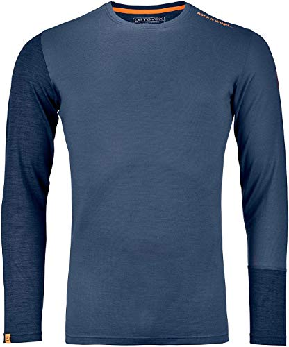 ORTOVOX Herren 185 Rock'n'Wool Long Sleeve, Night Blue Blend, L