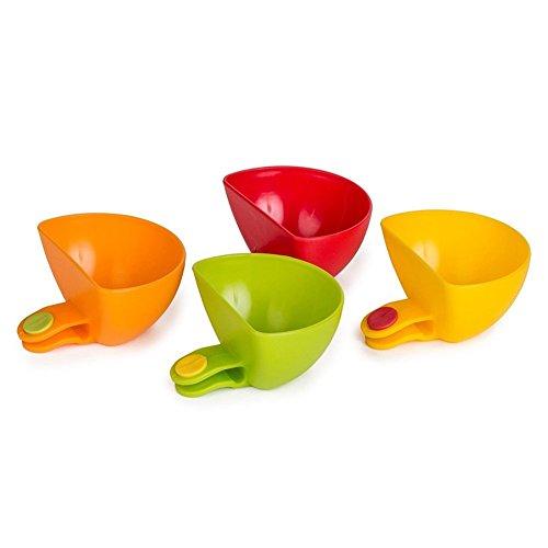 [4confezione] Starworld piastra a clip Holder, assortiti DIP clip contenitore ciotolina per salsa di pomodoro, sapore aceto sale zucchero spezie ciotola/colore casuale