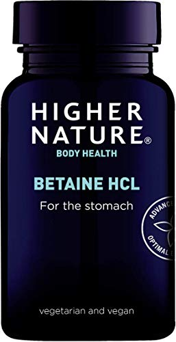 Higher Nature Betaine HCL - Hydrochloric Acid Supplement - 90 Capsules