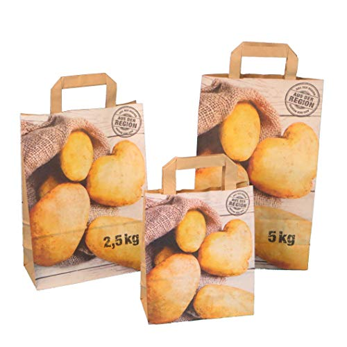 250 Papiertragetaschen Kartoffeltragetaschen Papiertüten für Kartoffeln Nassfest verschiedene Größen zur Auswahl - Inkl. Verpackungslizenz in D (22+10x31cm 2,5kg)