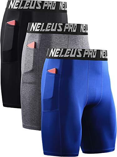 Neleus Men's 3 Pack Compression Shorts with Pockets Dry Fit Yoga Shorts,6063,Black/Grey/Blue,M