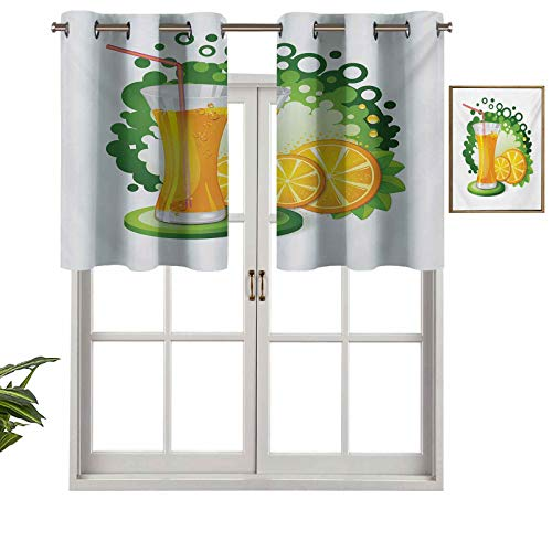 Hiiiman Premium Grommet Blackout Valance Glass of Orange Juice with Green Toned Background with Fruit Slices Leaves, Set of 1, 50'x18' Home Decorative Blackout Panels for Bedroom