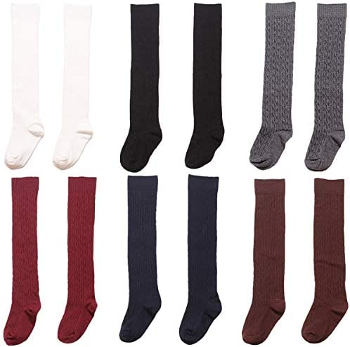 Girls Knee High Socks School Uniform Cotton Cable Knit Over The Calf Stockings 6 Pairs Assorted product image