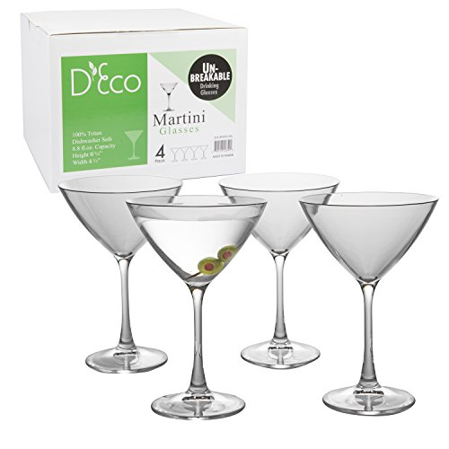 Unbreakable Martini Glasses - 100% Tritan - Shatterproof, Reusable, Dishwasher Safe (Set of 4)