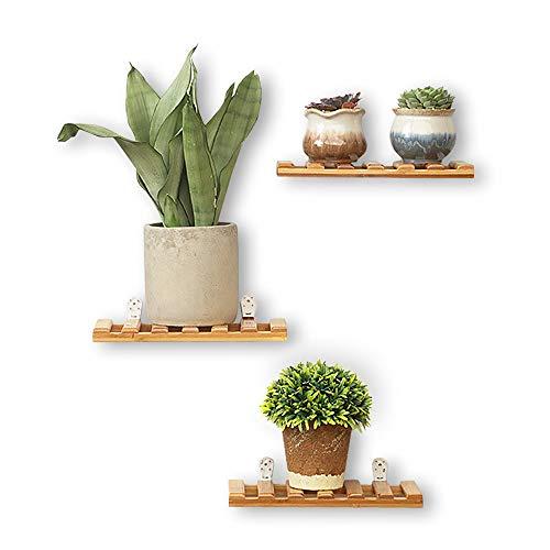 QUMENEY 3 estantes flotantes de madera, estantes flotantes de bloques de madera, estante montado en la pared, organizador de almacenamiento para colgar en la sala de estar, baño, cocina