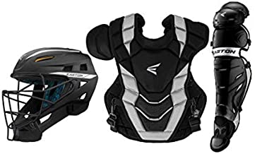 EASTON PRO X Baseball Catchers Equipment Box Set | Adult | Black | 2020 | Large Helmet | 17 in Chest Protector + Commotio Cordis Foam | 16.5 in Leg Guards | NOCSAE Approved For All Levels of Play