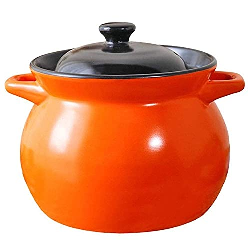cast iron pan Casserole Ceramic Stone Soup Open Flame High Temperature Household Ceramic Health Casserole Cookware Porridge Large Capacity Orange with A Cover Home & Kitchen