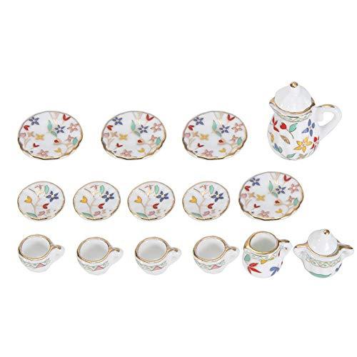 1:12 Puppenhaus Zubehör, 15 stücke Mini Porzellan Blume Teetasse Set Puppenhaus Dekor Küche Miniatur Simulation Möbel Set Modell für Jungen Mädchen Puppenhäuser(Krawatte 3)