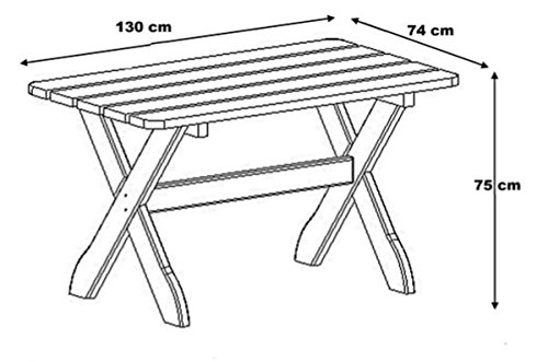 Garten Tisch 130 x 74 cm FSC Holz massiv Lärche Gartenmöbel - 2