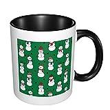 Taza de café con muñeco de nieve de Navidad personalizable, regalo para Navidad, color negro...