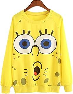 Casual Spongebob Print 3D Cartoon Design Sweatshirt Women Hoodie O-Neck White