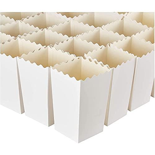 Blue Panda Popcorn-Boxen (100er Pack) - Für Popcorn und andere Snacks - Ideal für Filmabend, Geburtstag, Hochzeit, Mottoparty- Weiß, 590 ml, 8,4 x 14 cm