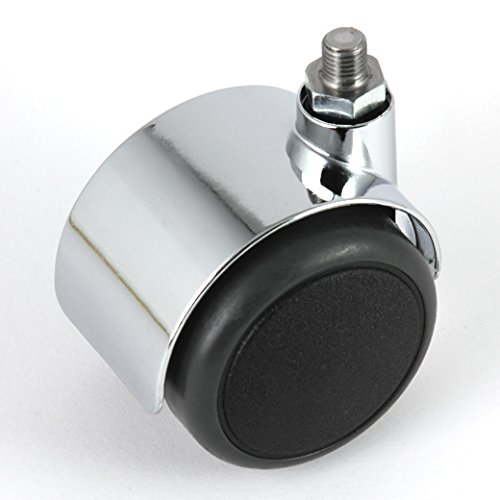 Möbelrolle ungebremst Chrom 50 mm Gewindestift M8 passend für USM Haller Möbel mit PU-Bereifung grau spurlos für harte Böden Hartbodenrolle ohne Bremse