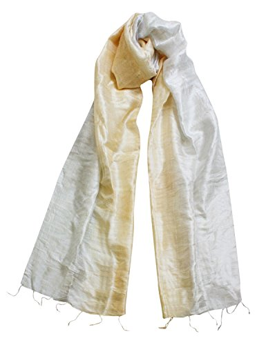 Exklusiv Seidenschal Pure Silk ca. 170 cm x 35 cm zweifarbig, Farben Seidenschals:old white/nature (54)