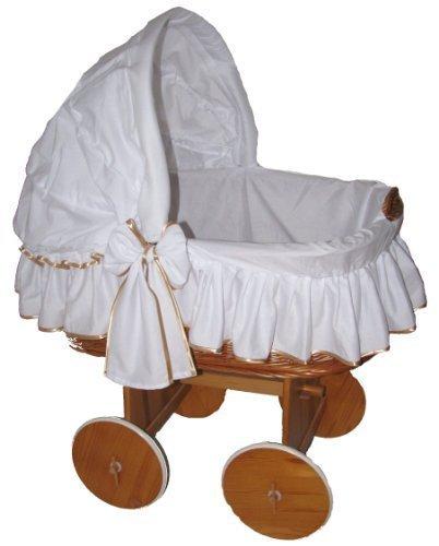 Babymajawelt® Stubenwagen Bezug TRAUMHAFT - XXL -Bollerwagen Ersatzbezug weiss (weiss-gold)