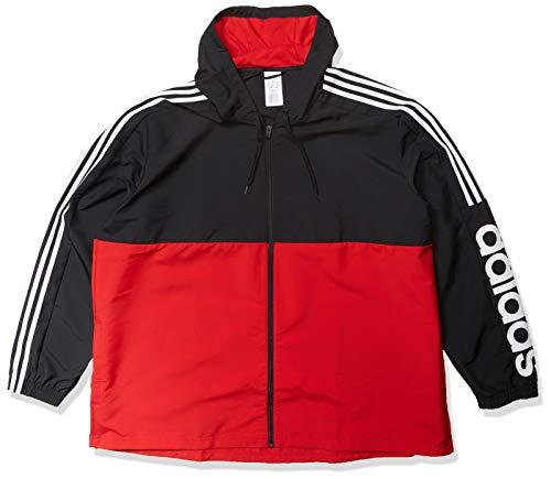 adidas Men's Essentials Colorblock Windbreaker, Black/Scarlet/White, X-Large
