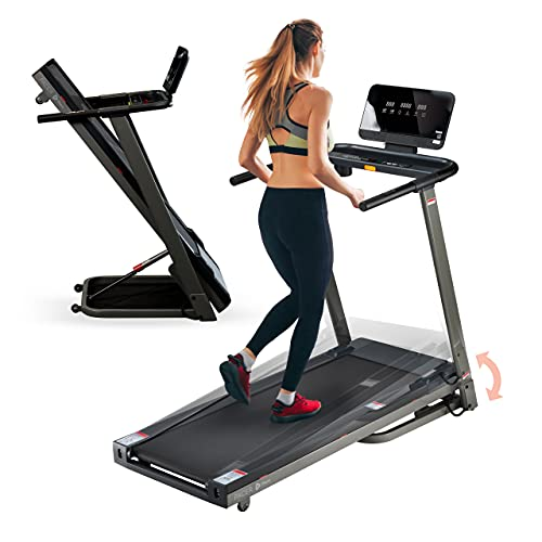 Lifepro Pacer Folding Treadmill for Home - Smart Motorized Portable Treadmill w/Auto Incline, Aux Bluetooth Speakers & Modern Display - Easy Assembly Compact Running Machine for Cardio & Weight Loss