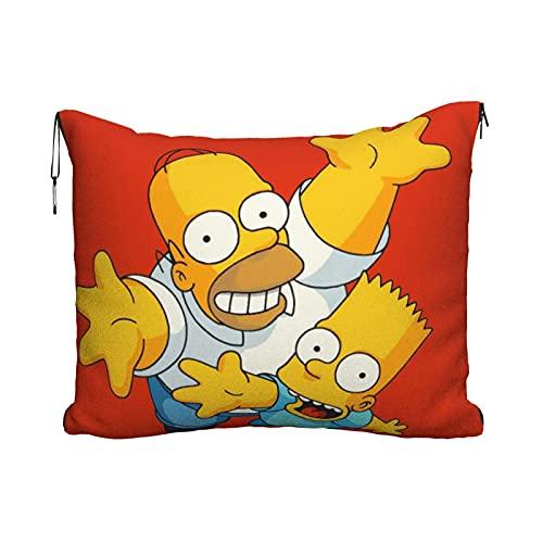 Anime dibujos animados Simpsons viaje almohada manta portátil viaje 2 en 1 manta avión mantas super suave acogedor