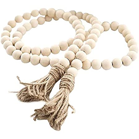 58In/pc Farmhouse Beads Wood Bead Garland Rustic Prayer Beads Boho Beads with Tassels Walling Hanging Garland for Rustic Country Decor (1 Pack)