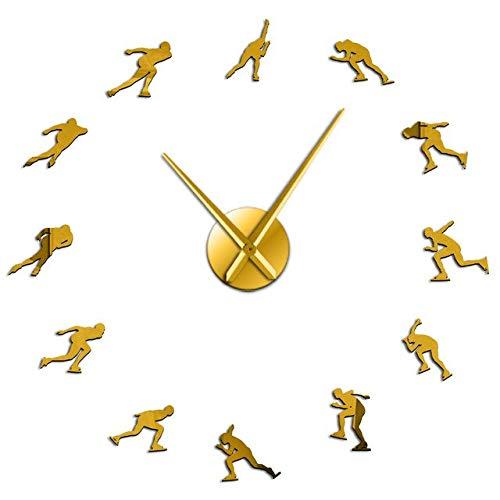 HIDFQY Reloj de Pared Deportes de Invierno Patinaje de Veloc