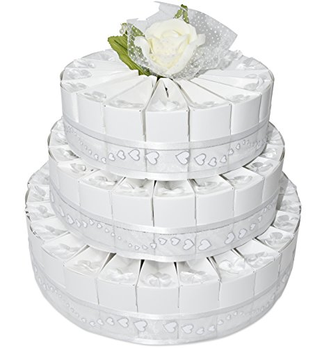 3 Tier White Wedding Favor Bags Cake Kit Includes 66 Favor Candy Boxes Party Crafts Supplies Decorations Table Centerpieces for Wedding Reception Birthday Celebration Baby & Bridal Shower Girls Boys