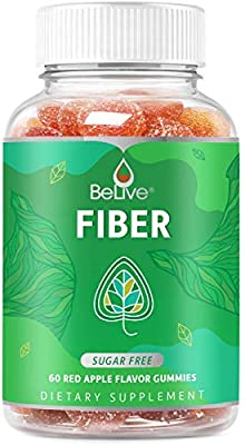 Fiber Gummies Sugar-Free Prebiotic Supplement for Kids & Adults - Digestive Health | Improves Bowel Movement with Inulin & Chicory Root | 100% Natural and Vegan Friendly - 40 Count