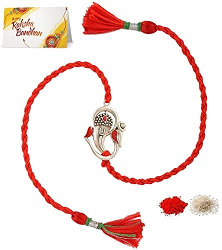 Meenakari Men's Cotton 92.5 Sterling Silver Om Ganesha Rakhi for Brother (Red)