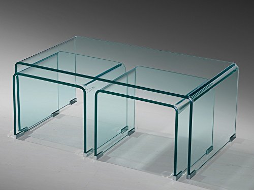 Glastisch Couchtisch Beistelltisch 3er Set gebogen ESG Glas