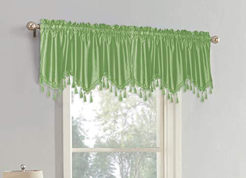Sally Textiles Raquel - Cenefa de Seda sintética, Color Verde