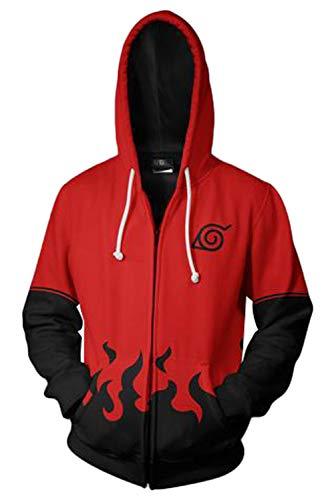 SUPERCOS Men's 7th Seventh Hokage Uzumaki Zip up Hoodie Sweatshirt Uchiha Jacket Anime Cosplay Costume (S, Red)