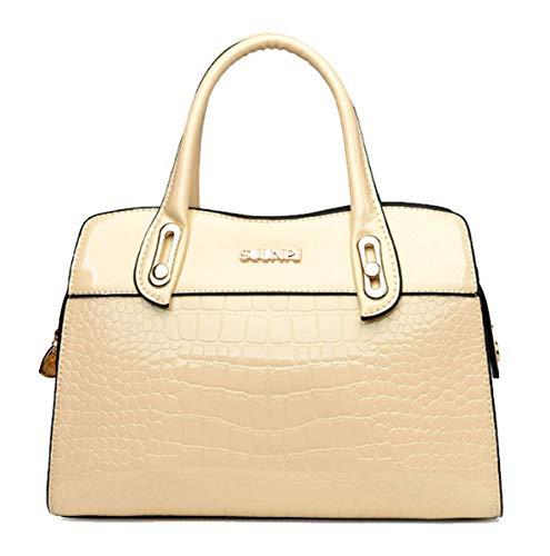 KOON Dame Lackleder Krokodilmuster Handtasche Elegant Umhängetasche Stilvoll Brieftasche(Beige)