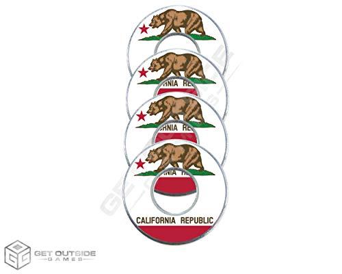 Get Outside Games 4 California Flag VVashers - Washer Toss Washer Board Game Washers (4 VVashers with Washer Locker)