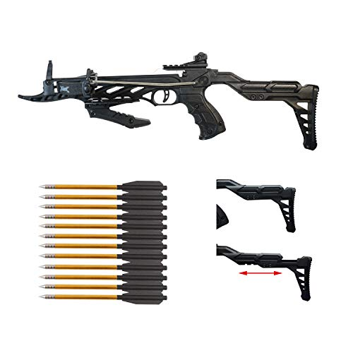 Southland Archery Supply 80 Pound Self-Cocking Pistol Crossbow (Pistol Crossbow with Adjustable Stock + 27 Arrows)