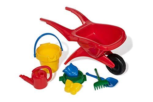 ROLLY TOYS- Carretilla para niños con Juguetes de Arena (Pala, rastrillo, Formas, Cubo, colador, regadera), Color carbón, 1 RAD (271672)
