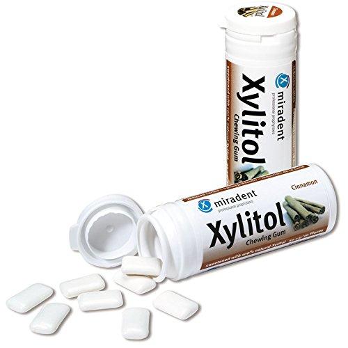 Miradent Xylitol Goma de mascar chicles dentales 30 piezas lata canela (6x 30g)