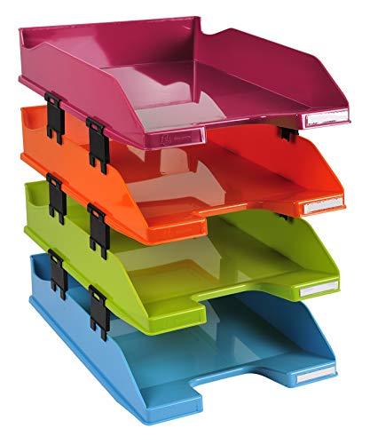 Exacompta Iderama - Pack de 4 bandejas de correo, color multicolor