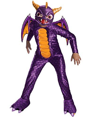Savahe Kinder Skylanders Spyro Kostüm / Karneval Fasching Drachen / Overall mit Flügeln & Maske
