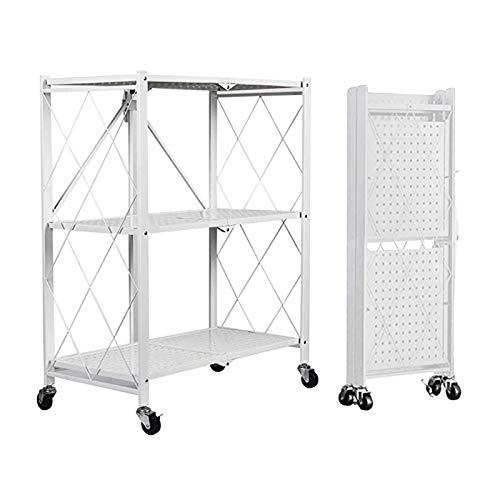 Küchenwagen YANFEI - Carro De Cocina Plegable Estantería de con Ruedas, para Garaje Baño Oficin72×34×87cm Blanco 3 Baldas