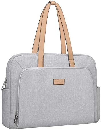 MOSISO Laptop Tote Bag,Laptop Messenger Handbag Sleeve Compatible with MacBook Pro 16 inch A2141&15-15.6 inch Notebook,Polyester Trapezoid Travel Office Work Briefcase with Front Pocket&PU Handle,Gray