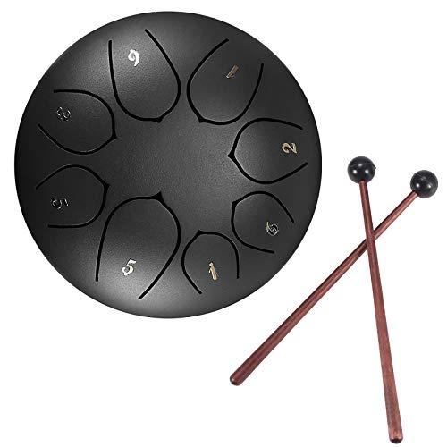 Konesky Stahl Zungentrommel 6 Zoll Hand Pan Percussion Drum 8 Tune Ätherisches Schlagzeug-Instrumentarium mit Trommel Tragetasche, 2 Drumsticks, Übungsheft, 4 Fingerpicks, Schwarz