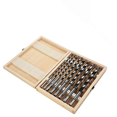 Carbon Steel Auger Hex Shank Drill Bit, 8pc 6mm, 8mm, 10mm, 12mm, 14mm, 16mm, 18mm, 20mm Wood Auger Bit Set, High Accuracy Machined Hex Shank Drill Set for Power Drills and Gimlet, Ship Auger Bits