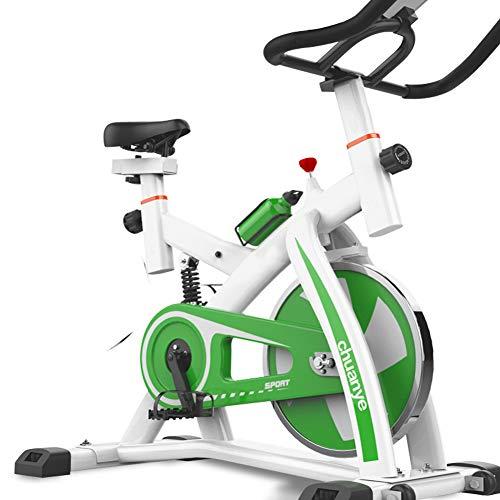 KuaiKeSport Bicicleta Spinning Profesional,Indoor Cycling Electromagnético Pantalla Electronica,Resistencia Variable Asiento y Manillar Ajustables Bicicleta Estatica con Hervidor y Tapetes,Green