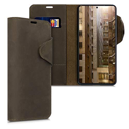 kalibri Wallet Hülle kompatibel mit Samsung Galaxy S21 Plus - Hülle Leder - Handy Cover Handyhülle in Braun
