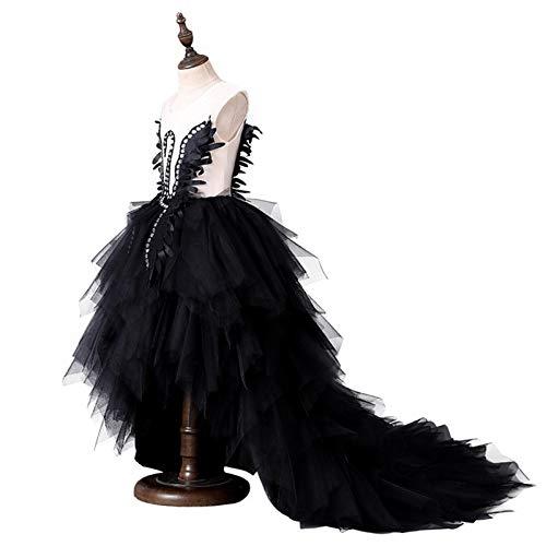 KDOAE Vestido de Noche Vestido Infantil Girls Negro Puffy Swan Princess Dress Vestido Chicas Cola Cancello Piano Piano Trajes de promoción Juego de rol (Color : Black, Size : 110cm)