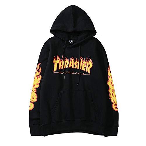 WANCHDP Fashion Flame Print Plus Velvet - Sudadera con capucha para hombre y mujer Negro B. L