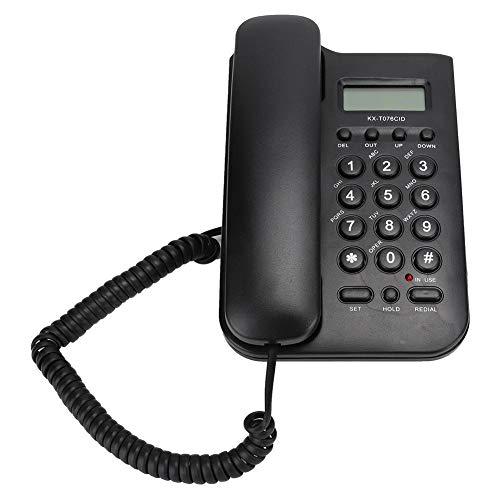 Vbestlife Teléfono con Cable con identificador de Llamadas, botón KX-T076 Teclas Teléfono con Cable Teléfono Fijo de Escritorio con Tono Claro para el hogar/Oficina/Escuela (Negro)